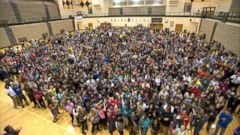 PHOTO: Students at Avon High School in Indiana turned out in full force for a video to draw attention to the dance marathon that helps raise money for a local childrens hospital.