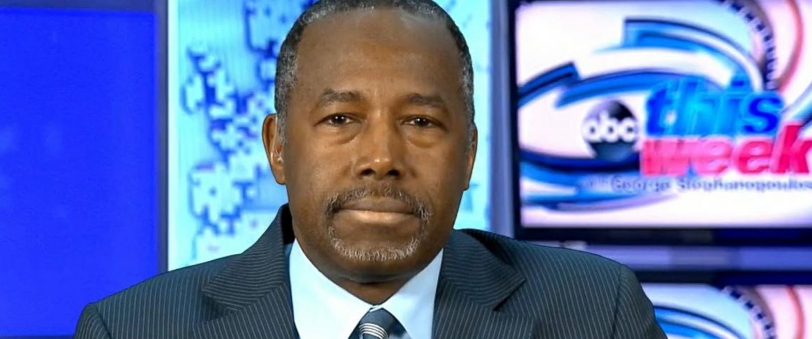 "PHOTO: Ben Carson is interviewed on ""This Week."""