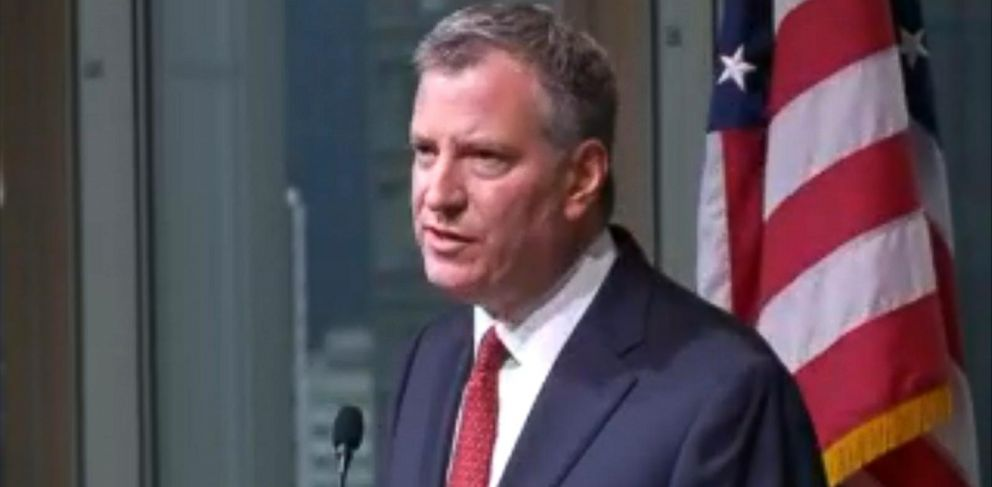 PHOTO: New York City Mayor Bill De Blasio speaks during a press conference in New York
