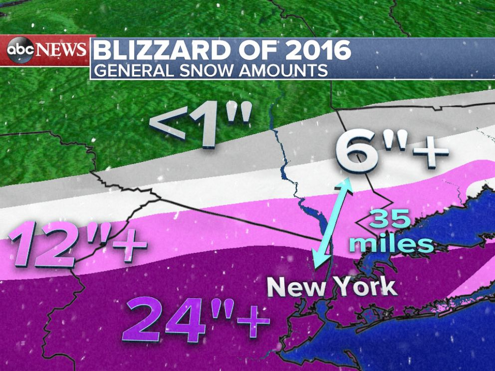 PHOTO: Summary of how much snow fell across the greater New York City area from the Blizzard of 2016.