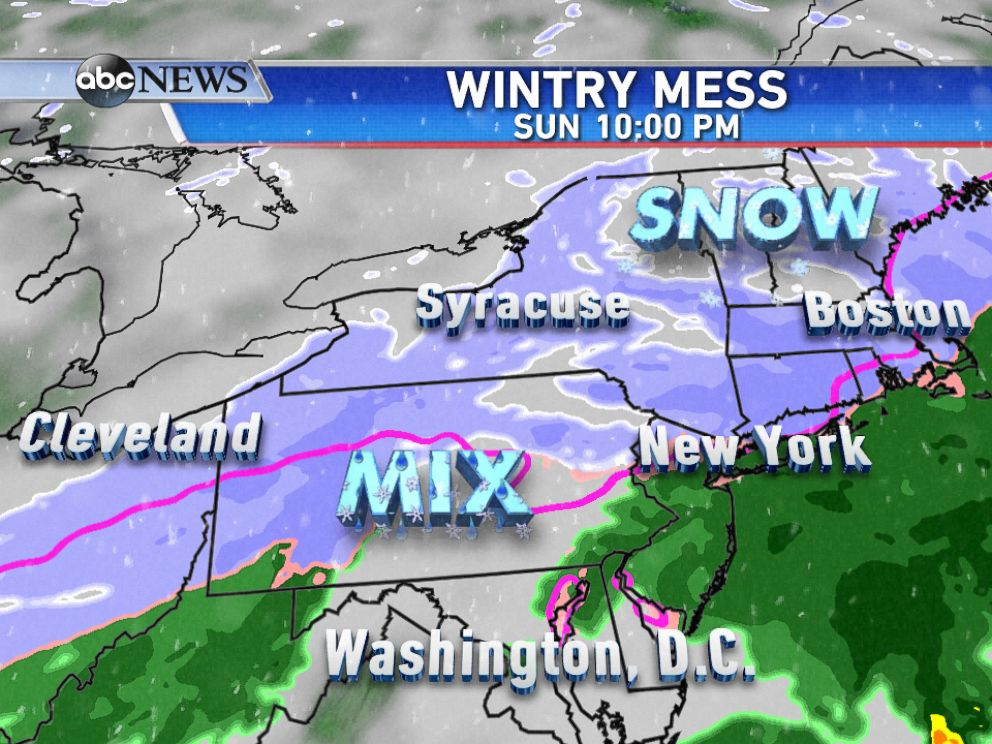 PHOTO: On Sunday evening, snow will be falling across southern New England, including Boston, with a wintry mix and some rain for areas farther south.