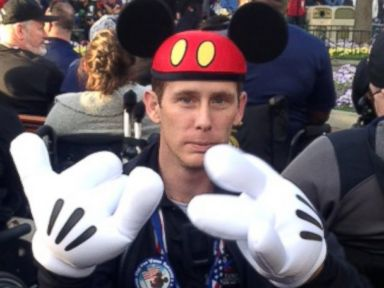 PHOTO: Triple-amputee Bryan Anderson was one of the wounded soldiers who actor Gary Sinise brought to Disneyland during a three-day, all-expenses paid trip.