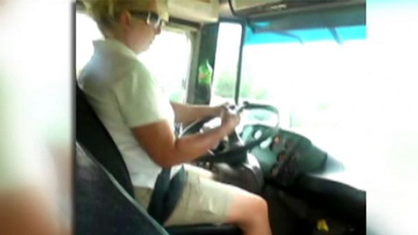 ABC bus driver texting jef 130920 16x9 608 School Bus Driver Suspended After Cellphone Video Shows Her Texting