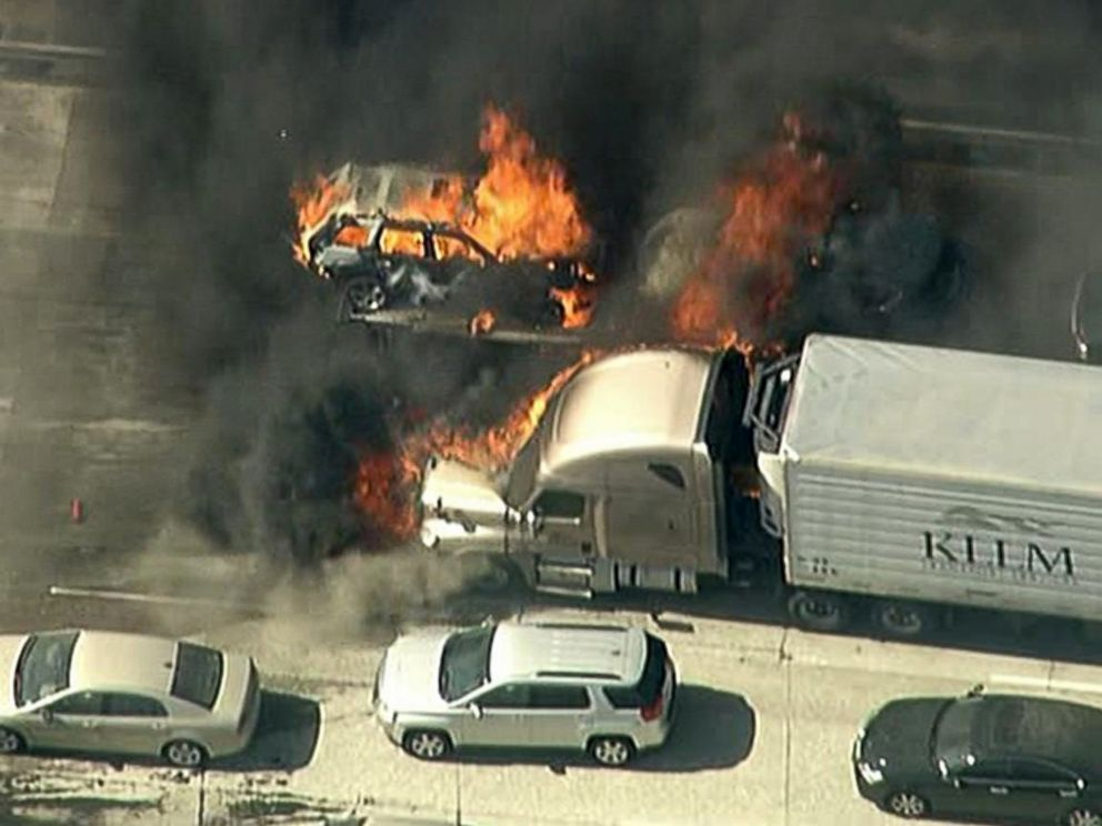 PHOTO: A fast-moving wildfire swept across a freeway in a Southern California, July 17, 2015.