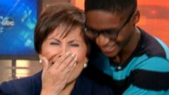 "PHOTO: Keonte Cook surprises Gloria Campos, a reporter with WFAA-TV, ABC News Dallas-Fort Worth affiliate, who retired this week after 25 years of connecting foster children with families through the ""Wednesdays Child"" segment."