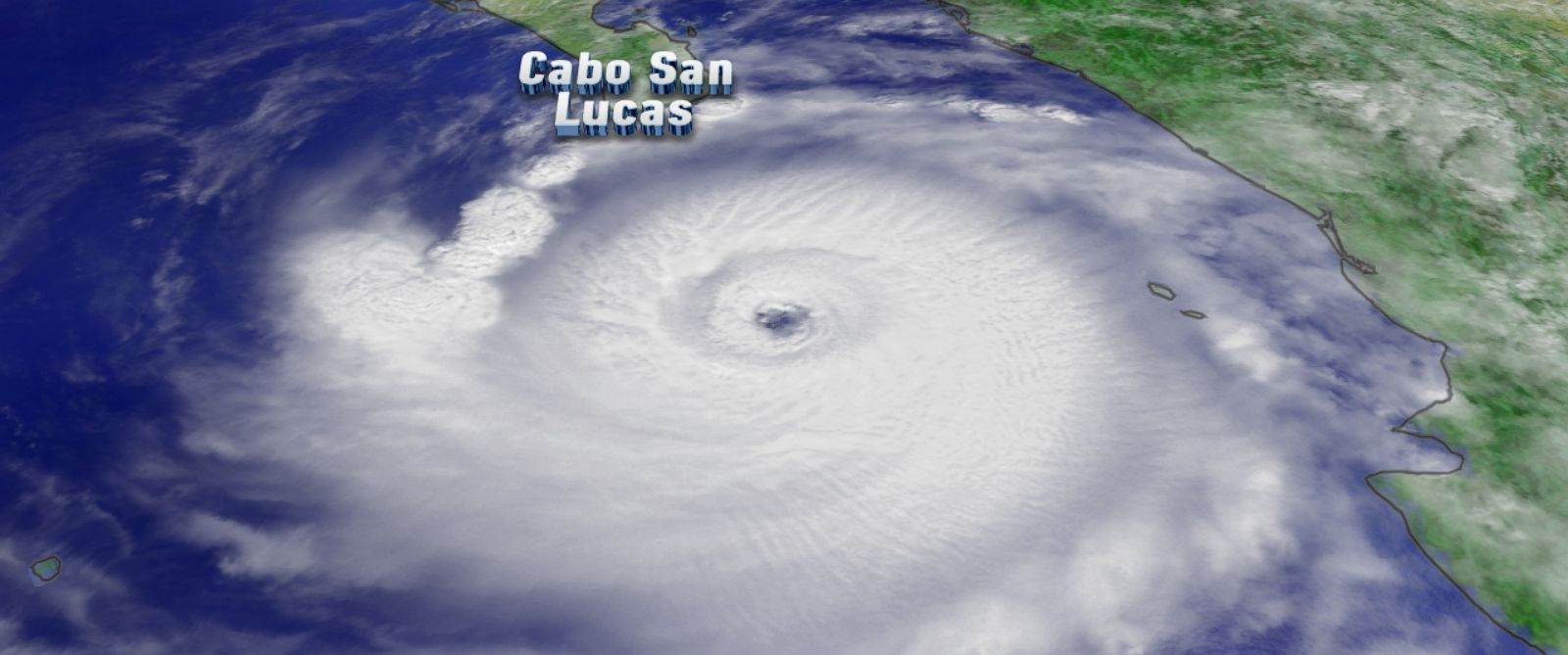 PHOTO: Visible satellite view of Hurricane Odile on Sunday afternoon as it heads towards Mexicos Baja Peninsula.