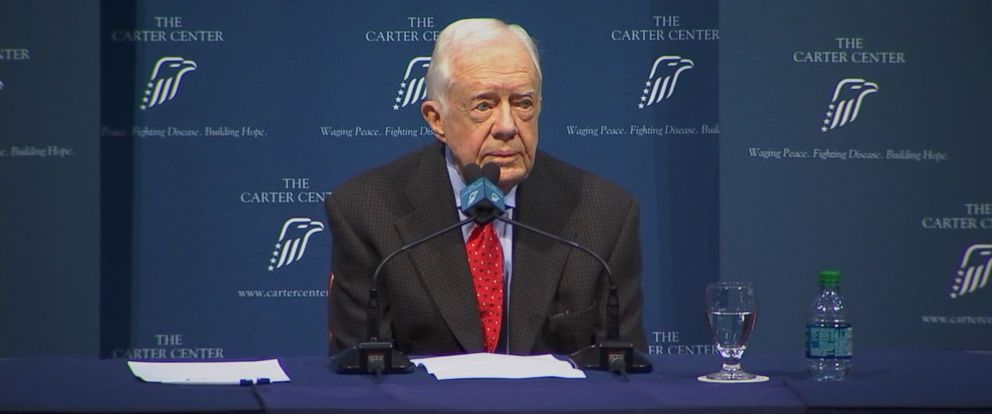 PHOTO:Former President Jimmy Carter discusses the details of his cancer diagnosis during a news conference, Aug.20, 2015, at the Carter Center in Atlanta.