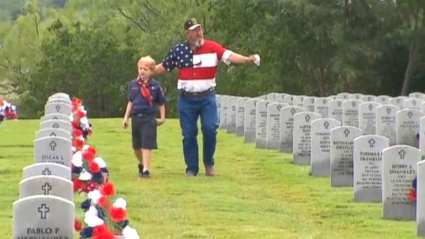 ABC ktvt veteran boy scout sk 140526 16x9 608 7 Year Old Scout Enlists Vet Grandfather to Honor War Dead
