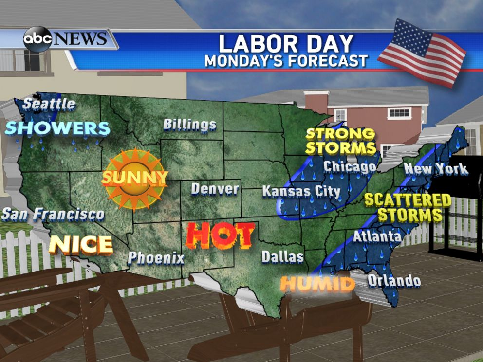 PHOTO: The Labor Day forecast calls for scattered thunderstorms along the east coast and mostly dry conditions across the west.