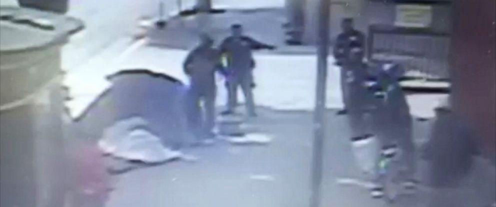 PHOTO: Surveillance footage from the Union Rescue Mission shows the moments leading up to the fatal altercation on Sun. March 1 between LAPD officers and a man believed to be homeless.