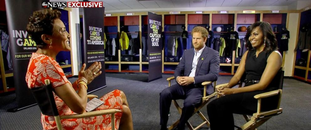 """PHOTO: Prince Harry and First Lady Michelle Obama speak to """"Good Morning America"""" co-anchor Robin Roberts about the Invictus Games in Orlando, Fla."""