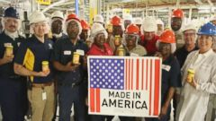 PHOTO: ABC News at the Peter Pan factory, where everything is made in America.