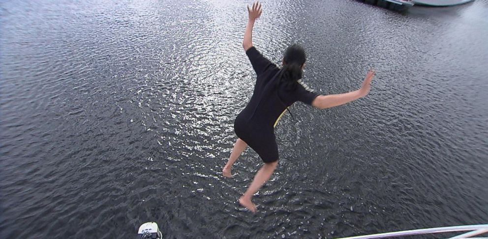 "PHOTO: ABC News Reena Ninan tests out a ""man overboard"" system on a boat by jumping into the water below."