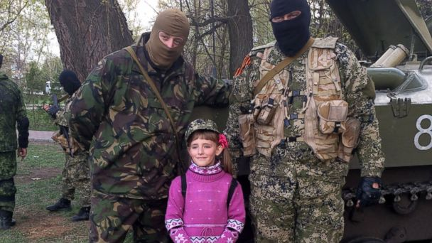 ABC militant kids 01 jef 140416 16x9 608 Ukrainian Kids Smile and Pose With Pro Russian Forces