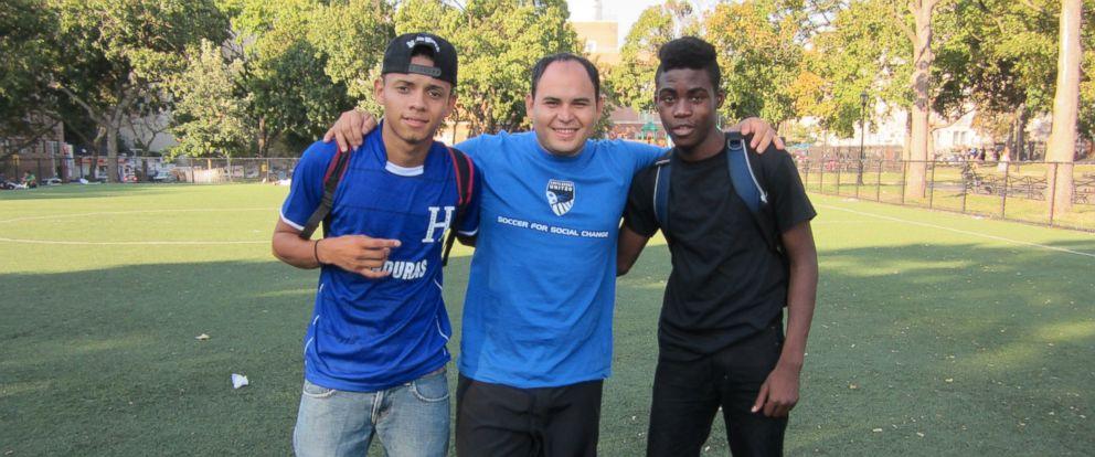 PHOTO: Norlan Girón (left), Elvis García (ctr) and Carlos Martínez at Mullay Park in South Bronx.