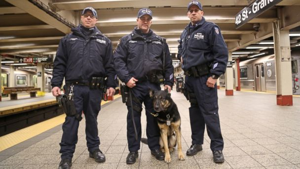 ABC nypd officer and dog 2 sr 140327 16x9 608 Army Vet, Military Dog Duo Keeps NYC Subways Safe