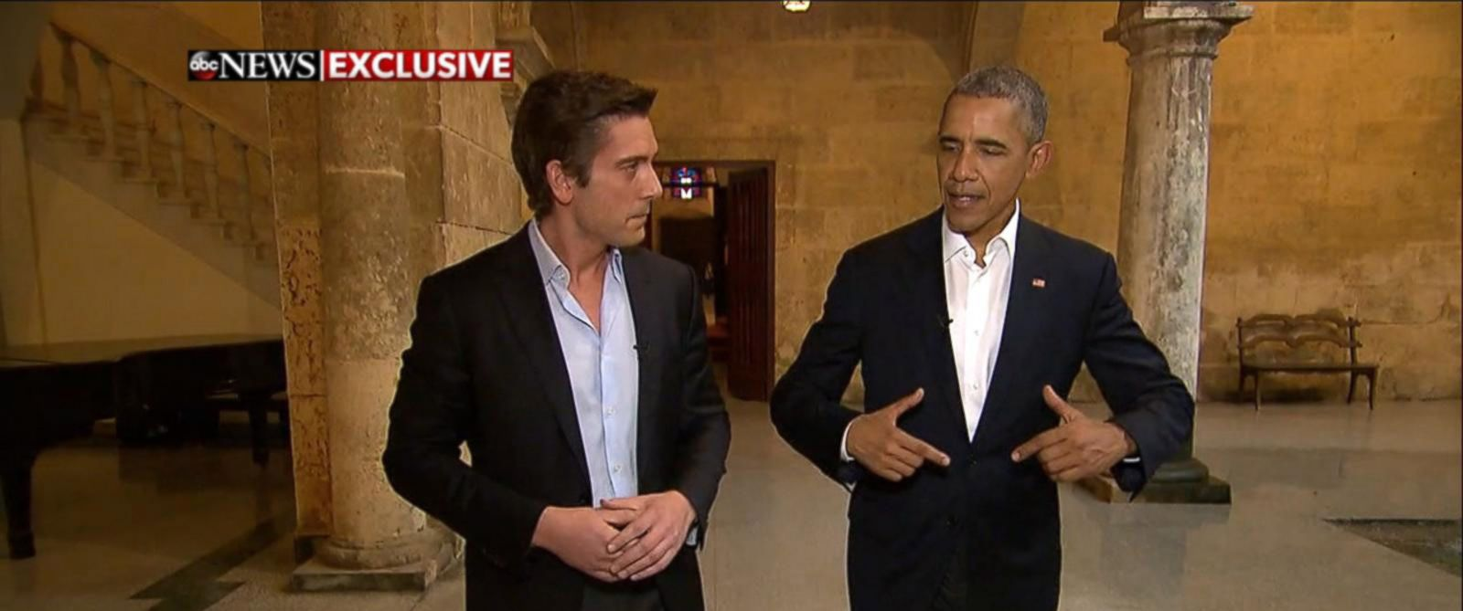 "PHOTO: ""World News Tonight"" Anchor David Muir interviews President Barack Obama in Havana, Cuba, March 20, 2016."