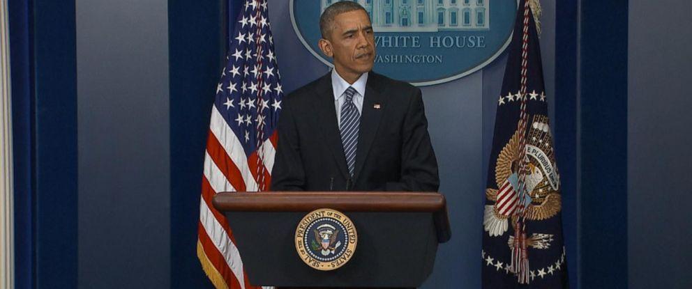 PHOTO: President Barack Obama speaks at a press conference