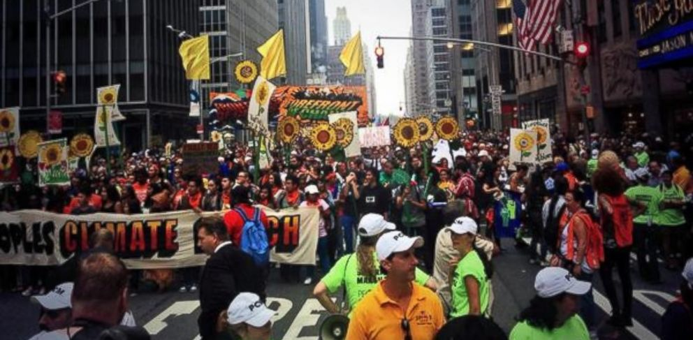 PHOTO: Micah Grimes posted this photo to Twitter on Sept. 21, 2014 with the caption, Peoples Climate March was stopped at Radio City Music Hall. Organizers spoke to police for a whole. Moving again.