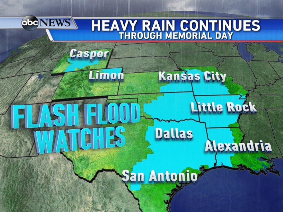 PHOTO: On Sunday evening, Flash Flood Watches were in effect from Texas up to Missouri, and across parts of the Rockies.