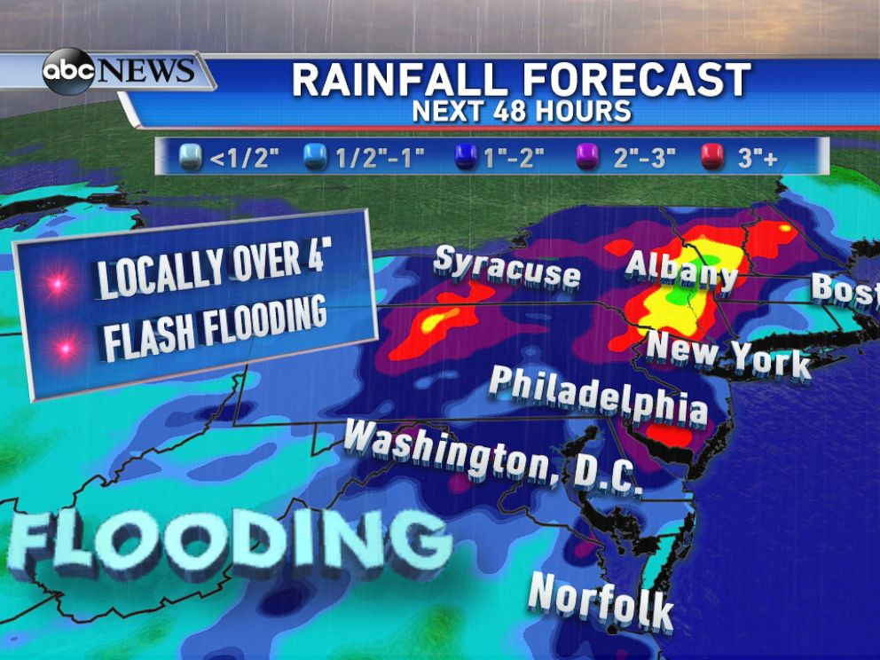 PHOTO: Rainfall forecast through Wednesday, locally over 4 of rain and flash flooding possible.