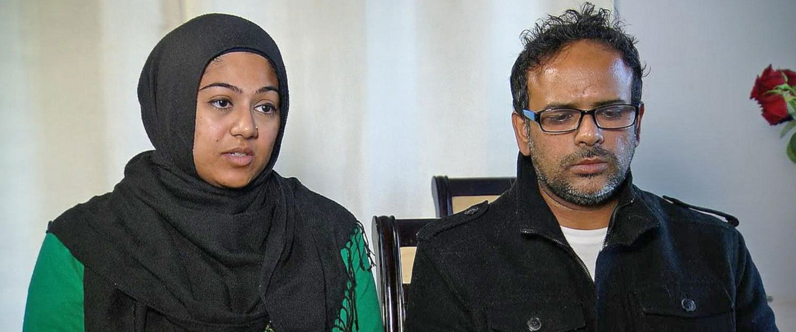 PHOTO: Saira Khan, the older sister of Syed Farook, and her husband, Farhan Khan, speak to ABCs Kayna Whitworth.
