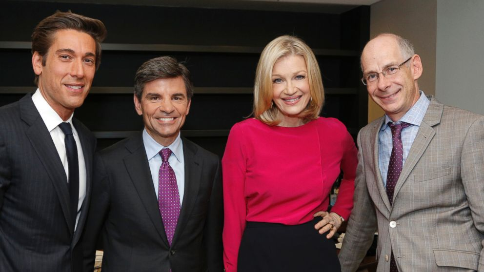 PHOTO: ABC News anchors David Muir, George Stephanopoulos and Diane Sawyer are pictured alongside ABC News President James Goldston in this June 25, 2014 photo.