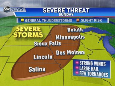 PHOTO: There is an elevated risk for severe storms on Sunday from the central Plains to the upper Midwest.