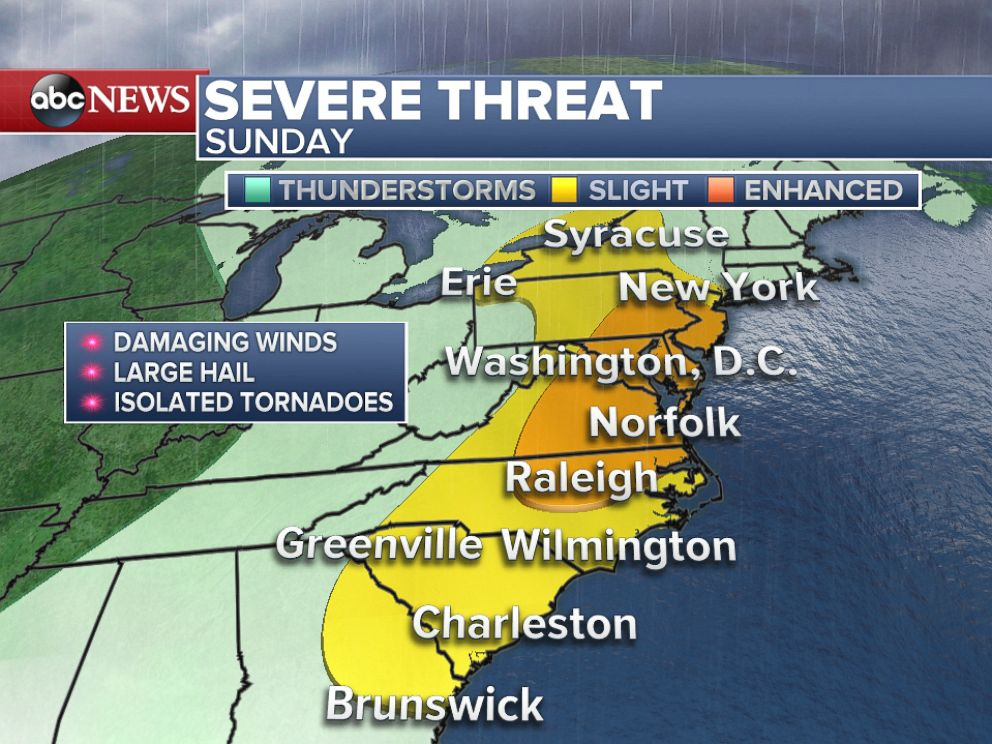 ABC_severe_weather_threat_sunday_jt_160605_4x3_992 East Coast Braces for Severe Storms, Heavy Rain
