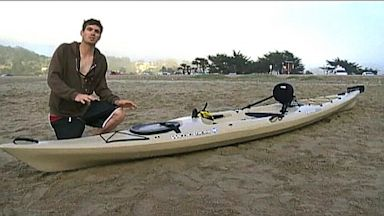 PHOTO: Micah Flansburg was kayaking when he says a shark hit the bottom of his boat in PACIFICA, Calif.