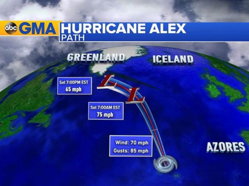 PHOTO: The forecast track for Alex before it dissipates near Greenland.