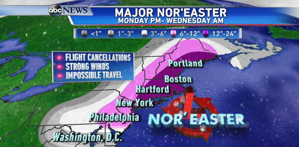PHOTO: The latest forecast from the ABC News Weather Team is calling for over a foot of snow from New York City to Boston by Wednesday morning.