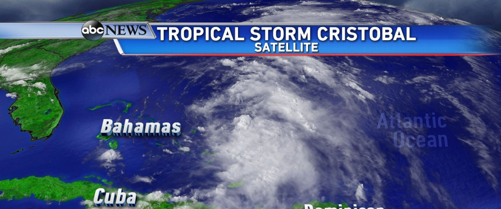 PHOTO: Satellite view of Tropical Storm Cristobal as it churns in the Atlantic.