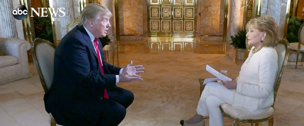 "PHOTO: Donald Trump sits down with Barbara Walters for an interview to air on ABC News ""20/20."""