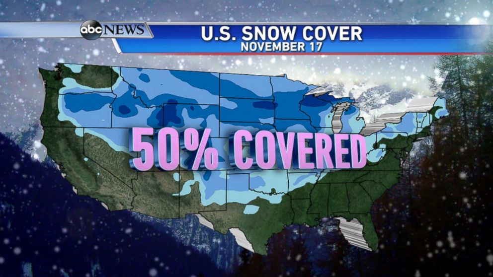 Map Shows Half The Country Covered In Snow ABC News - Map of us snowfall