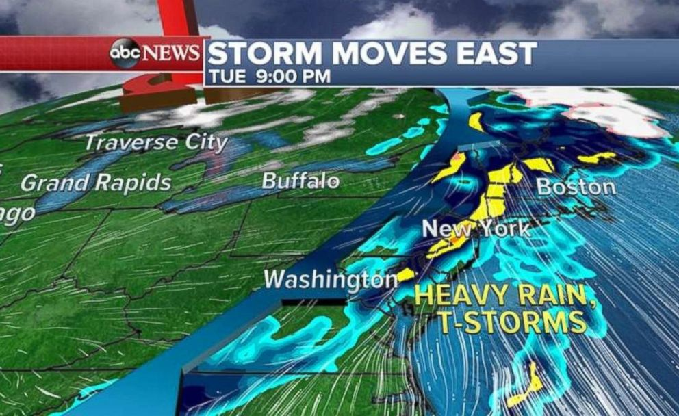 A storm system is forecast to move into the Northeast Tuesday evening.