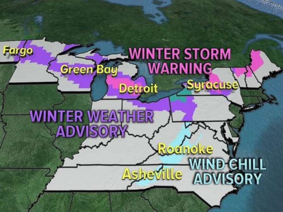 PHOTO: The National Weather Service issued Winter Weather Advisories, Lake Effect Snow Warnings, Winter Storm Warnings and Wind Chill Advisories for 14 states this week.