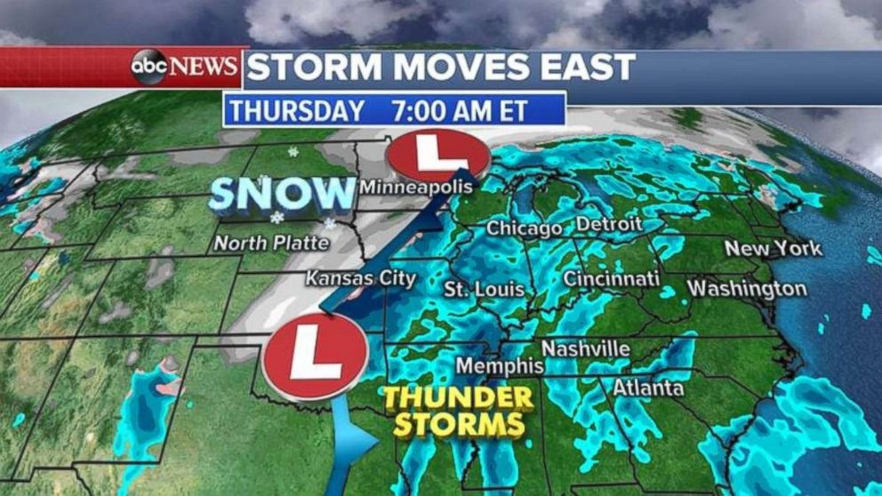 PHOTO: A storm system moved through the Plains on Thursday.