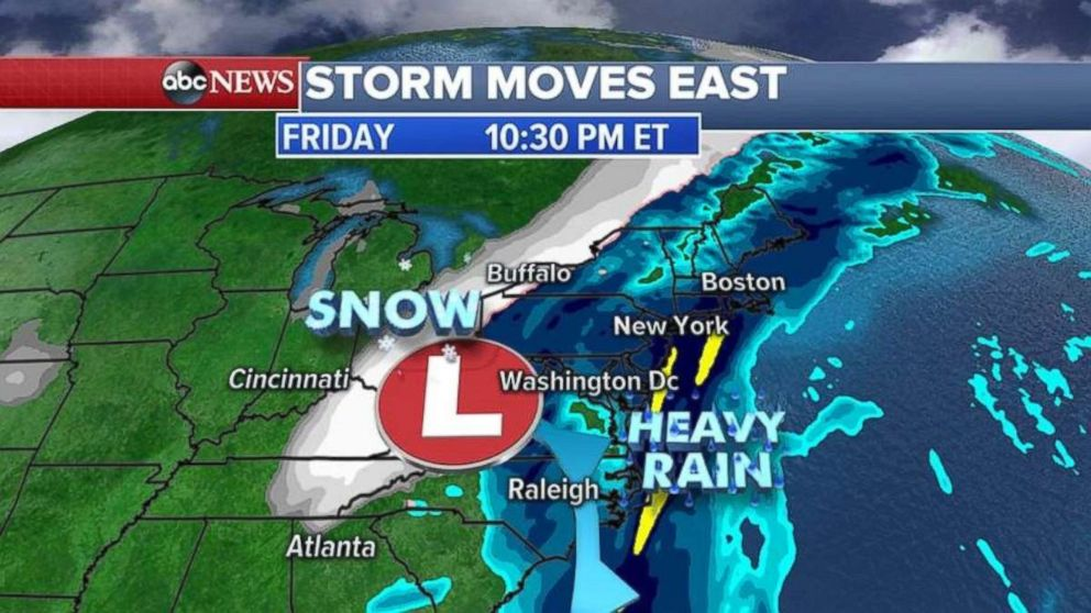 PHOTO: A storm is forecast to bring heavy rain and snow to the East Coast on Friday.