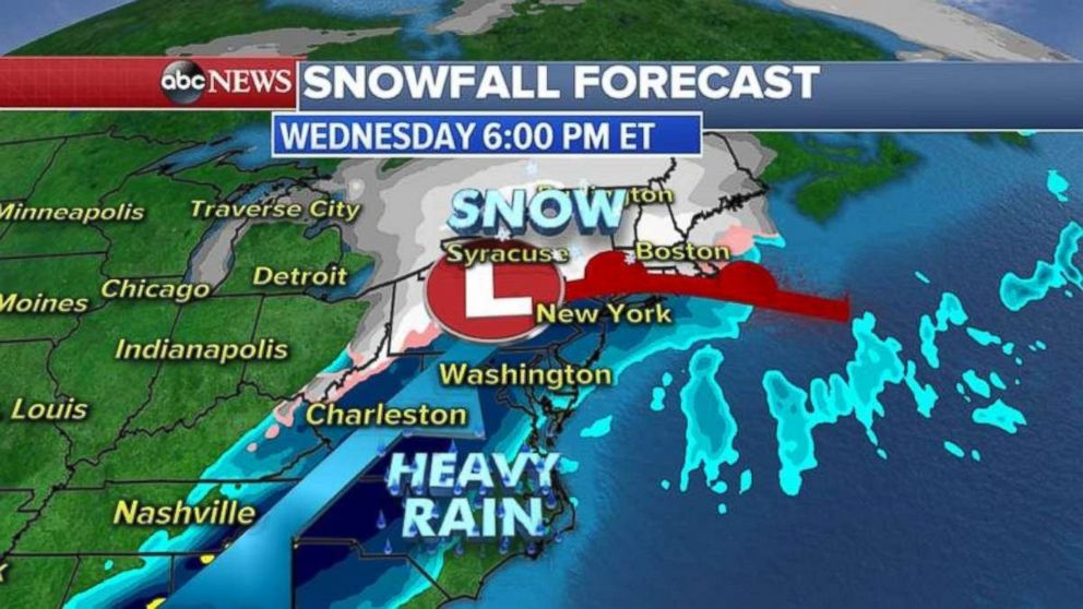 ABC News A storm system is expected to hit the the East Coast on Wednesday evening