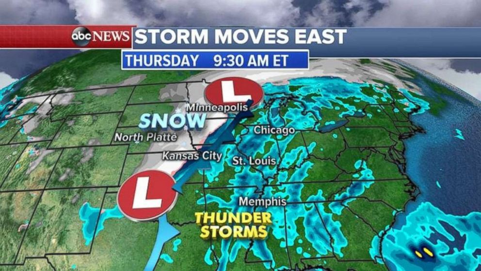 PHOTO: A storm, which was moving through the Rockies on Wednesday morning, is expected to hit the East by Thursday.