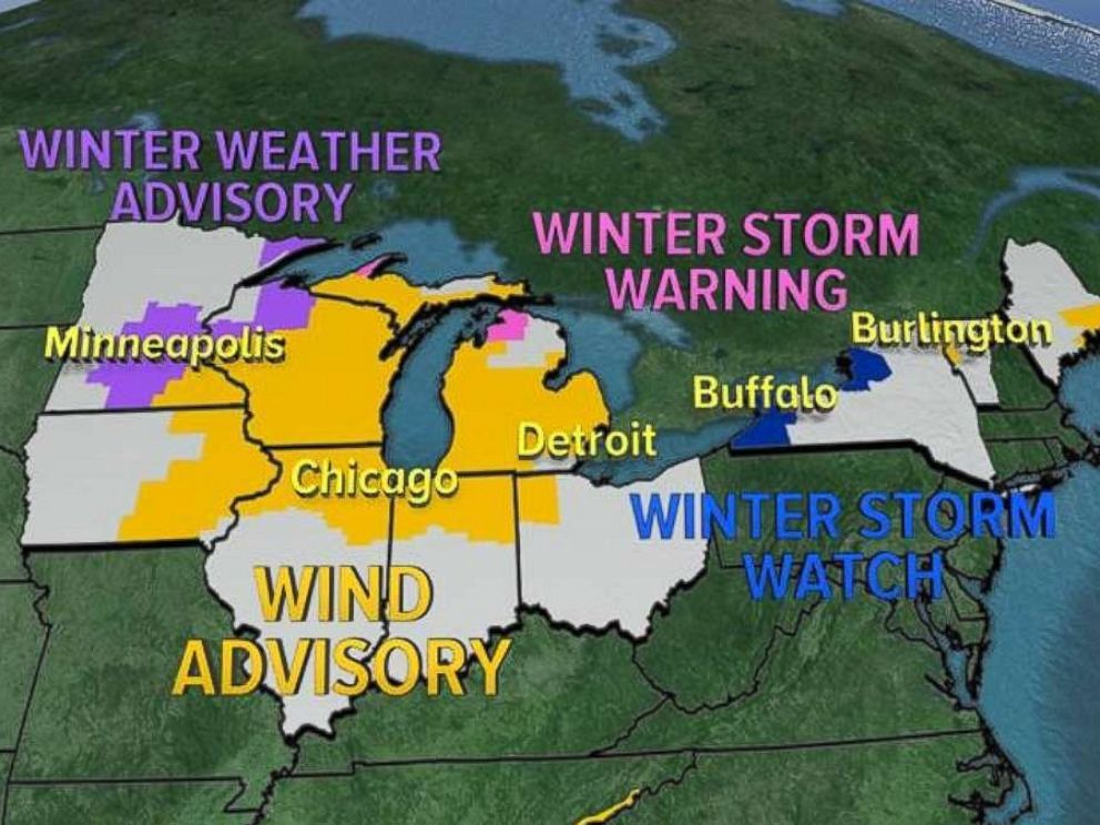 PHOTO: Winter Weather Alerts and Wind Advisories were issued for 12 states on Tuesday.