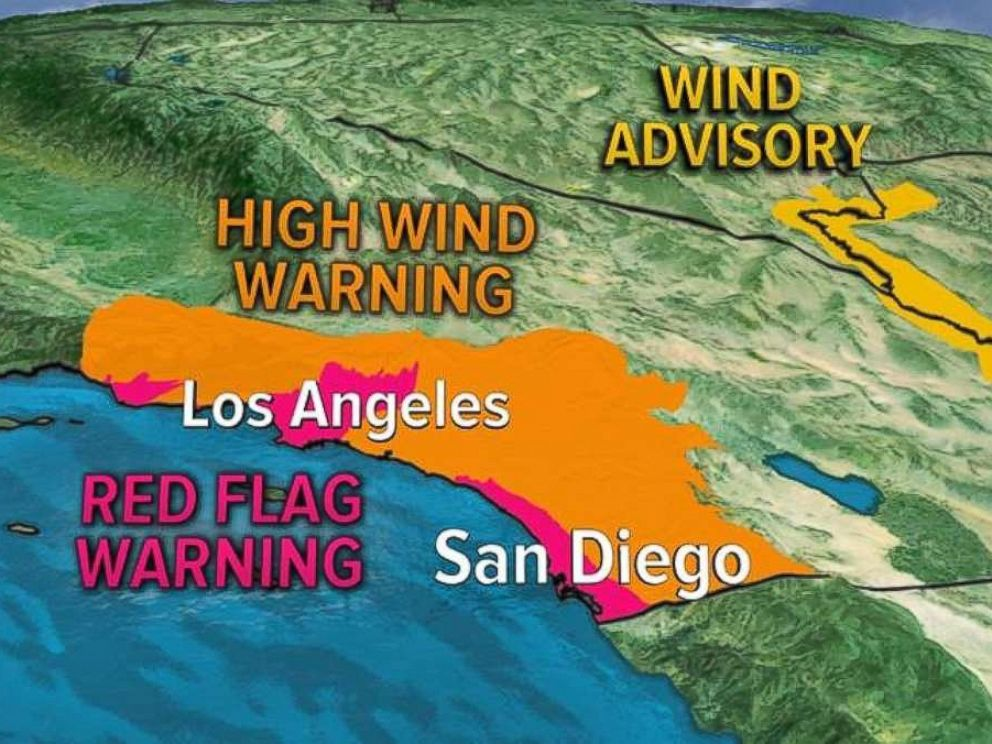 PHOTO: Parts of Southern California were under red flag and high wind warnings on Wednesday.
