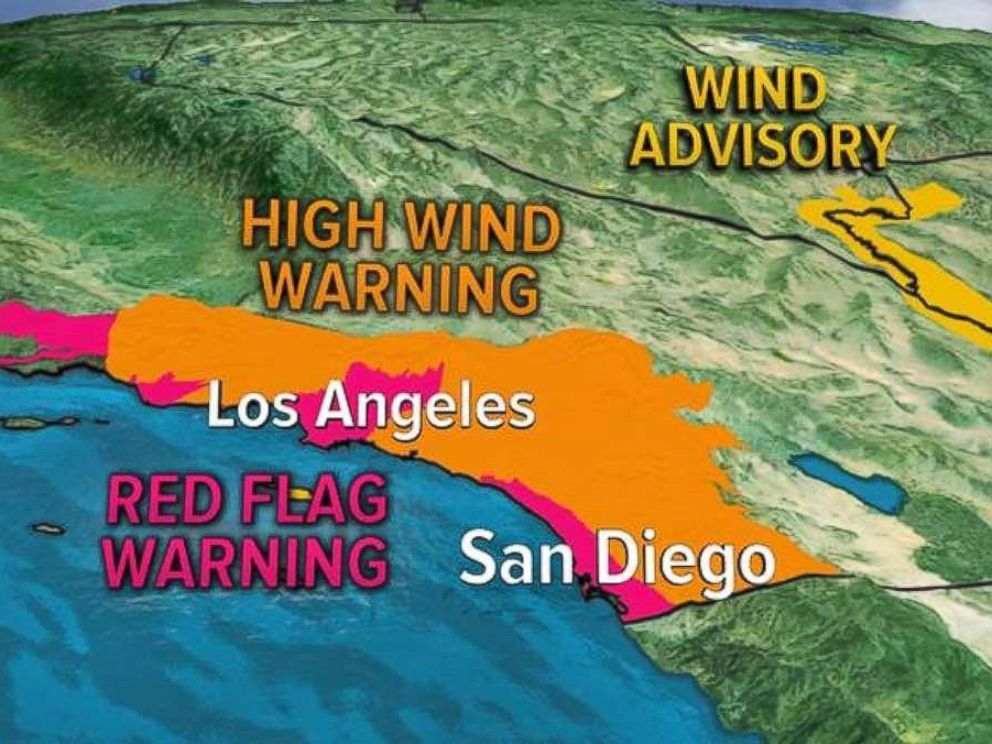PHOTO: Parts of southern California were under red flag and high wind alerts on Thursday.