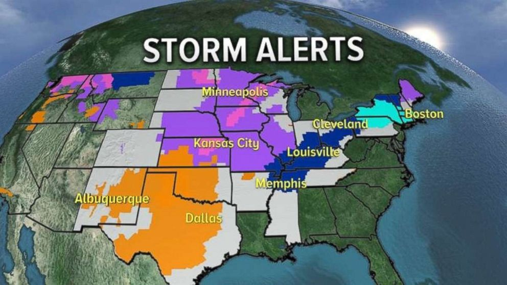 PHOTO: Dozens of states were under storm warnings, advisories and watches on Thursday.