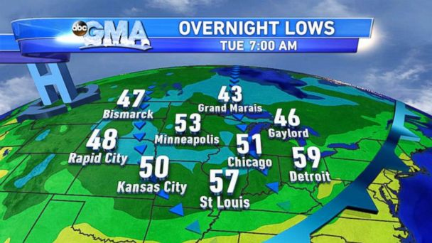 ABC weather map mar 140714 16x9 608 Midwest Could Feel Like Fall With Tuesdays Cold Temperatures