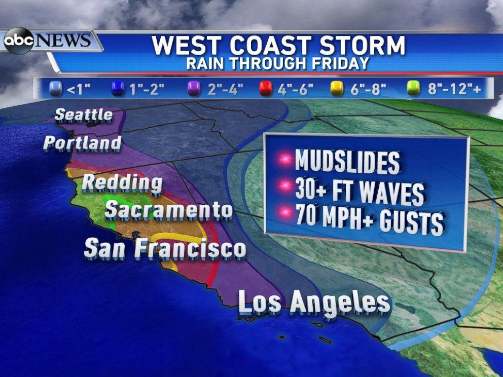 PHOTO: Rain forecast through Friday for the West Coast.