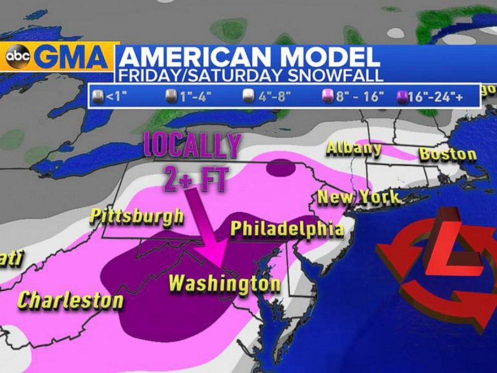 PHOTO:A graphic shows the snowfall predictions along the Northeast.