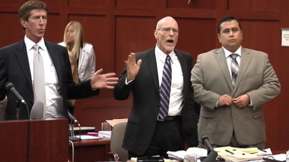 PHOTO: Zimmermans defense team reacts to Judge Debra Nelson walking out of court July 9, 2013 as a member of the Zimmerman defense team angrily complained about the long hours and lack of t