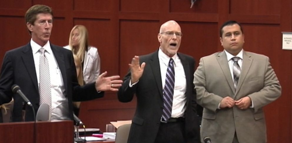 PHOTO: Zimmermans defense team reacts to Judge Debra Nelson walking out of court July 9, 2013 as a member of the Zimmerman defense team angrily complained about the long hours and lack of time the defense had to go over evidence it said the prosecution
